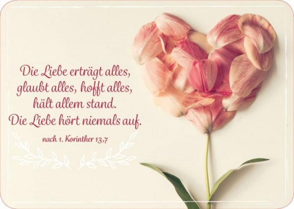 Postkarte 'Die Liebe erträgt alles, glaubt alles, hofft alles, hält allem stand.