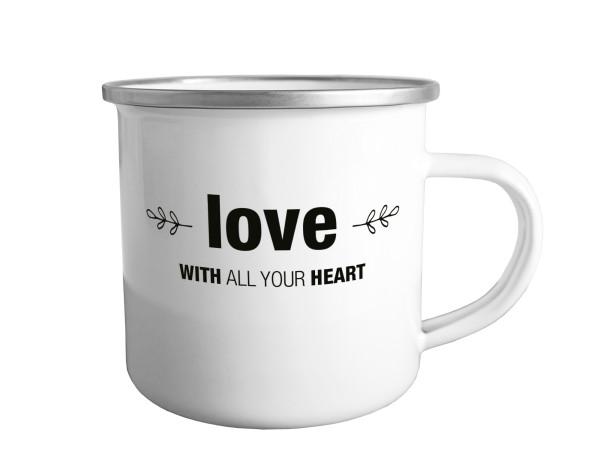 Emailletasse 'Love'