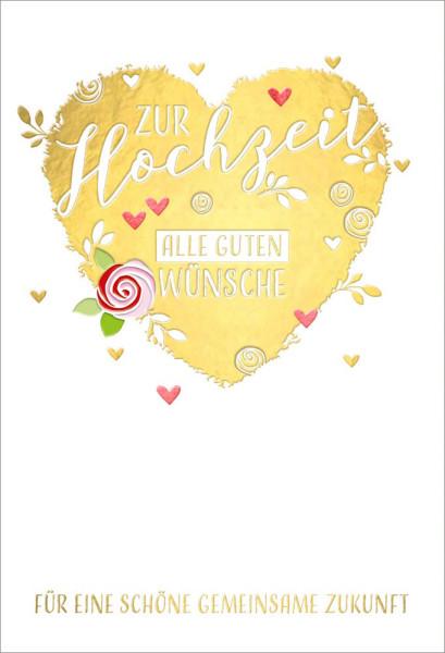 Faltkarte Hochzeit /Goldherz