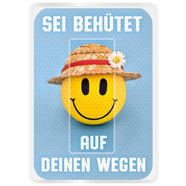 lachender Smiley mit Strohhut