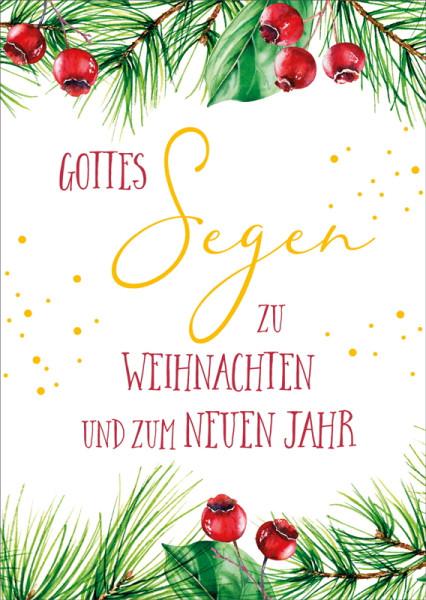 Postkarte 'Gottes Segen zu Weihnachten und zum neuen Jahr' 10 Ex.
