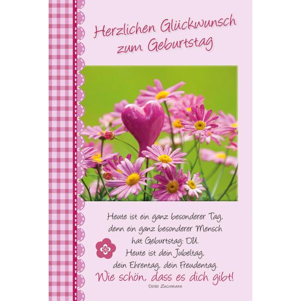 rosa Margeriten mit rosa Herz