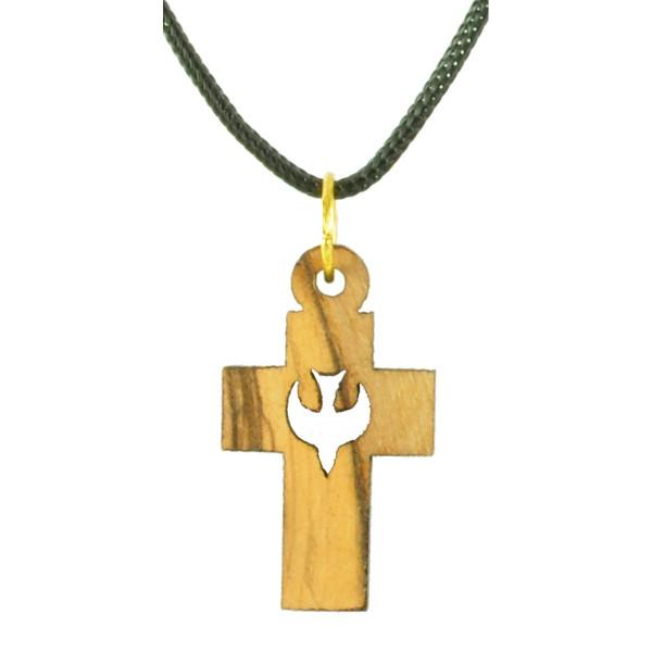 Olivenholzkette: Kreuz mit Taube