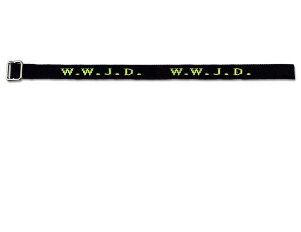Armband 'WWJD' gewebt, schwarz/neongelb