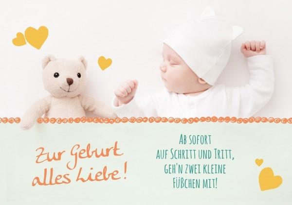 Faltkarte 'Zur Geburt alles Liebe'