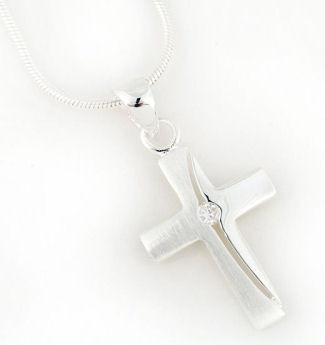 Halskette mit Anhänger 'Kreuz Zirkonia'
