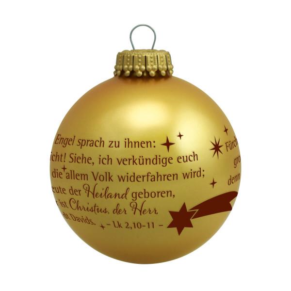Christbaumkugel gold 'Und der Engel sprach'