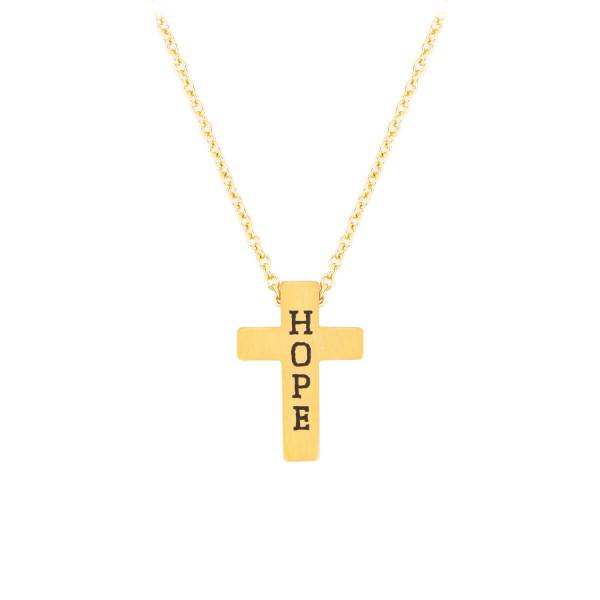 Halskette mit Anhänger 'Kreuz Hope' goldfarben