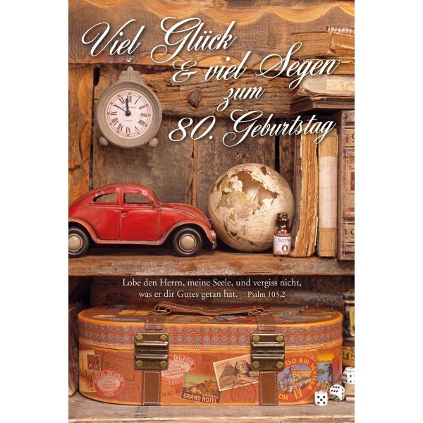 nostalgisches Motiv mit Auto, Weltkugel, Koffer