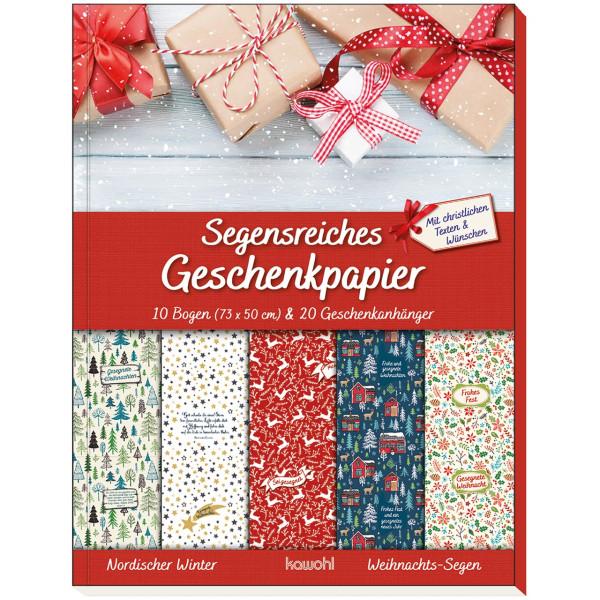 Geschenkpapier: Geschenkpapier-Buch: Weihnachts-Segen (Nordischer Winter)