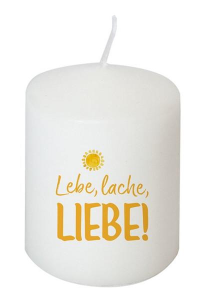 Kerze 'Lebe, lache, liebe!'