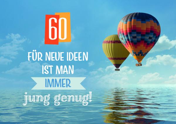 Faltkarte '60 - Für neue Ideen ist man immer jung genug!'