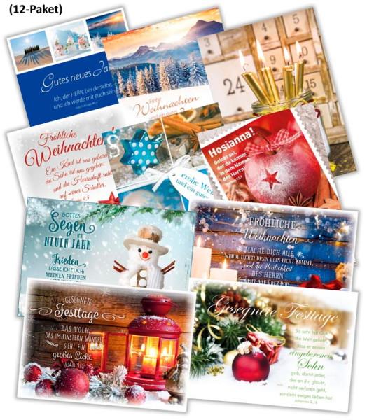 Paket 'Faltkarten Weihnachten' 12 Ex.