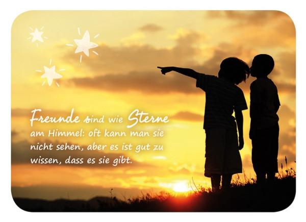 Postkarte 'Freunde sind wie Sterne am Himmel: oft kann man sie nicht sehen, aber