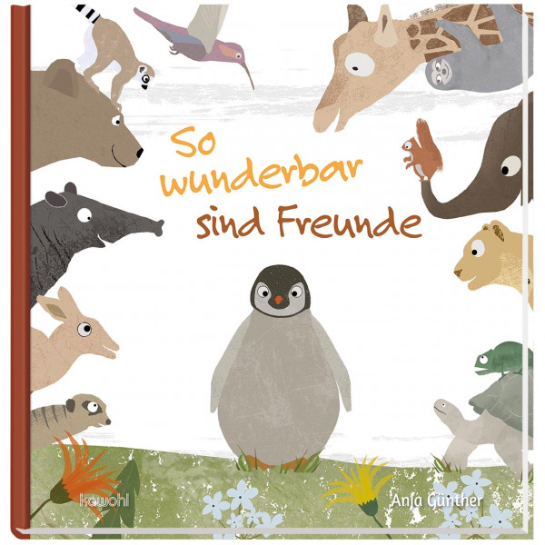 Pinguin auf Blumenwiese<br />viele Tiere