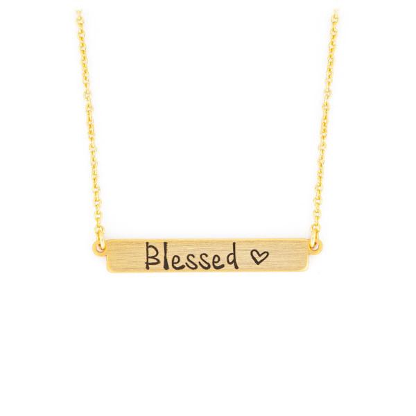 Halskette mit Anhänger 'Platte Blessed' goldfarben